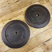 2 Vintage Healthways 25 Lb Cast Iron Weight Plates 1 Standard Size 25lb Weights