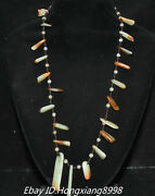 10'' Unique Old Chinese Natural Hetian Jade Carving Long Square Necklaces