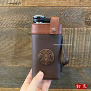 2021 China Starbucks Stanley Black Gold Father Day 8oz Hip Flask Leather Cover