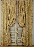Beautiful Pair Long Vintage French Cotton Brocade Curtains / Drapes - B1409c