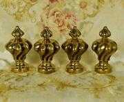 Fabulous Set 4 Antique French Brass Curtain Pole Finials, Tres Chateau Chic