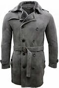 Menand039s Grey Military Double Breasted Real Sheepskin Suede Pea Coat