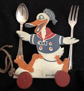 Very Rare 1930and039s Disney Donald Duck Wooden Baby Spoon And Fork Wood Pull Toy