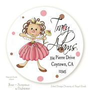 Country Prim Raggedy Daisy Girl Round Address Labels Stickers 3 Size Choices