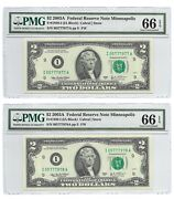 2003a 2 Minneapolis Frns 2 Pmg Gem Uncirculated 66 Epq Banknotes Nice S/ns