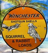 63 Vintage Style ''winchester Shotgun Shell'' Porcelain Gas And Oil Sign 12 Inch