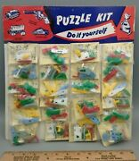 Vintage Plastic Keychain Puzzle Nos Tank - Cannon - Airplane - Wagon - Car