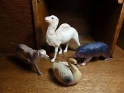 1950's Vintage Celluloid Animals Camel, Bear, Dog And Swan