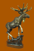 Bronze Stags Signed Marius Stag Moose Elk Statue Signed And Numbered Sculpture