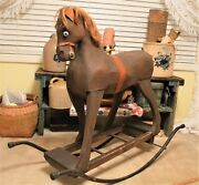 Rare Victorian Era Rocking Horse Wood And Hand Molded Body Straw Stuffed Real Hair