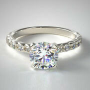 1.12 Ct Natural Diamond Solid 14k White Gold Bridal Engagement Ring Size 7 5 5.5