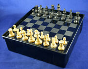 Vintage German Wooden Chess And Checkers Pieces + Bakelite Board Case Set