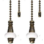 Ceiling Fan Chain Pulls Decorative 12 Inches Color With White Ceramic Bronze