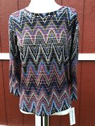 Nwt Alfred Dunner News Flash 2018 Embellished Chevron 3/4 Sleeve Knit Top 66 S