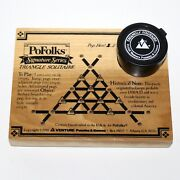Vintage Pofolks Wood Triangle Solitaire Game Historical Puzzle Black Pegs