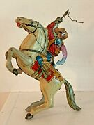 Vintage Tin Marx Lone Ranger Wind-up 1938 Western Toy Cowboy And Horse - Works