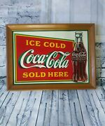 Vintage 1989 Coca Cola Ice Cold Sold Here Metal Tin Sign Soda Popcrown Rc