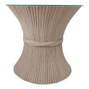 Mcguire Sheaf Of Wheat Half Moon Table With Glass Original Color