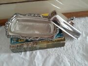Vintage Epca Poole Silver Company Butter Dish, Silver Plate And Glass