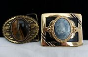 Vintage Belt Buckles, New Old Stock, Never Worn 1970's Large Metal And Stone