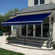 Retractable Patio Awning Cover W/ Aluminum Frame Crank Handle - 98x80in