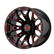 20 Inch 5x5 4 Wheels Rims 20x10 -18mm Black Milled With Red Tint Xd Xd841