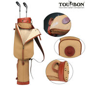 Tourbon Golf Clubs Pack Carry Case Sunday Bag Canvas Leather In Old School Style