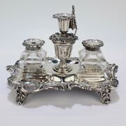 Exceptional Early Victorian English Sterling Silver Inkstand By H Wilkinson - Sl