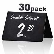 30 Pack Rustic Tent Style Mini Chalkboard Signs - Chalk Sign - Easy To Write And