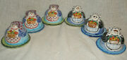 Vintage Set Of 6 Horchow Italy Covered Butter Pat Egg Dishes