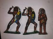 Lot Of 3 Vintage Barclay Manoil Lead Toy Indian Soldier