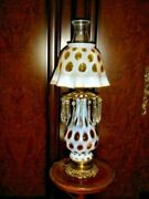 Fenton Honeysicle Coin Dot Opalescent Oil Style Lamp 1948-1949 Gwtw