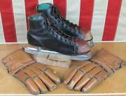 Vintage 1940s Stall And Dean Puckmaster Ice Hockey Gloves And Leather Hockey Skates