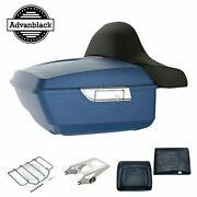 Legend Blue Denim King Tour Pack Pad Luggage Trunk For Harley Touring 1997-2020