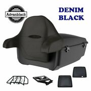 Denim Black King Tour Pack Trunk Black Hinges And Latch For 1997+ Harley Touring
