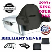 Brilliant Silver King Tour Pack Black Hinges And Latch For 97-20 Harley Touring