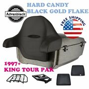 Hard Candy Black Gold Flake King Tour Pack Black Hinges And Latch For 97-20 Harley