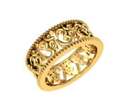 Solid 18k Yellow Gold Om Designed Menand039s Traditional Spiritual Band Size 9 10 8