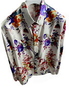 Dior X Kaws Bee Embroidered Floral Long Sleeve White Silk Shirt Size 41