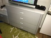 4-drawer Travel Studio Silver Sideboard / Chest W/ Glass Top By Ligne Roset