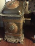 Antique Brass Coal Bin Scuttle Box With Ornate Relief - With Tool Holder