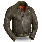 First Manufacturing 60's New Yorker Men's Leather Motorcycle Jacket