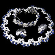 Boucher Sapphire Cabochons Interlinked Bows Necklace Bracelet And Earrings Set