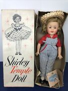 11andrdquo Vintage Ideal Shirley Temple Doll Vinyl 1950andrsquos All Original Overalls And Box R