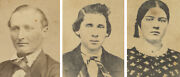 Civil War Era Couple From Galesburg Il 3 Cent Stamps Signed Set Of 3 Photos