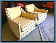 Contemporary Modern Tub Chairs, Swanky, Chic, On Solid Brass Shepherd Casters