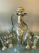 Haig Pinch Bottle And Set Of 6 Pedestal Shot Glasses With Sterling Silver Overlay