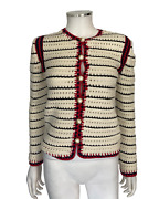 Woven Knit Ivory Navy Red Pearl Gg Striped Sweater Button Cardigan Sz Xs