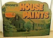 Large Antique Cardboard Benjamin Moore Store Paint Sign 37 By 28 Decor Rare