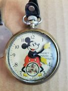 Vintage 1933 Ingersoll Short Stem Patented Mickey Mouse Pocket Watch